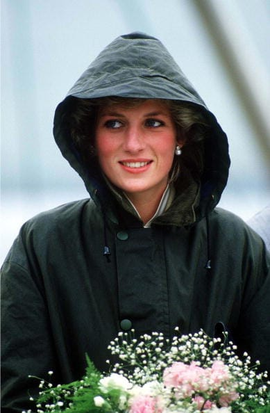 Princess Diana wearing the famous Barbour jacket