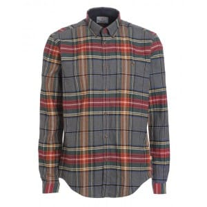 Barbour Heritage Shirt, Grey and Red Plaid Slim Fit 'Castleford' Shirt