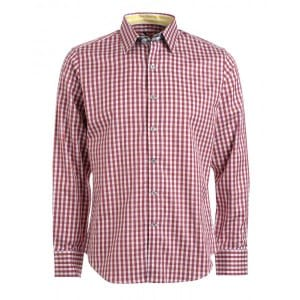 Robert Graham Shirts 'Bryant' Dark Red Regular Fit Gingham Shirt