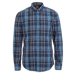 Hugo Boss Orange 'Edipoe' Slim Fit Blue Checked Shirt