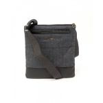 Armani Jeans Denim And Faux Leather Flat Messenger Bag