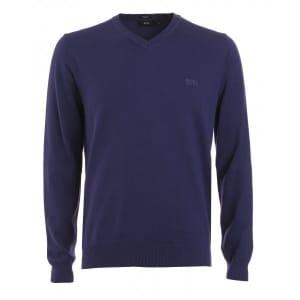 Hugo Boss Black Jumper, Purple V Neck Regular Fit 'Barnabas 4' Knit