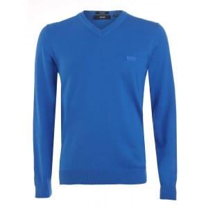 Hugo Boss Black Jumper, Blue V Neck Regular Fit 'Barnabas 4' Knit