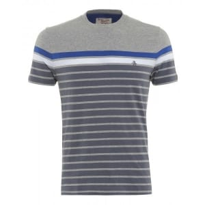 Original Penguin T-Shirt, Grey Block Stripe En Board Tee