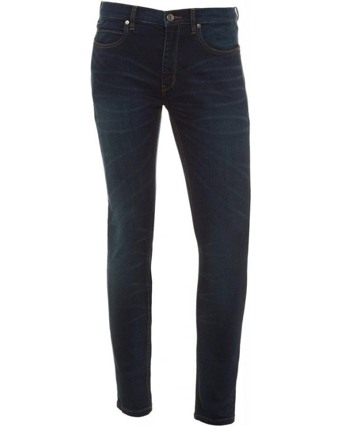Hugo Boss - Hugo 100 Dark Blue Super Skinny Fit Cotton Blend Jeans