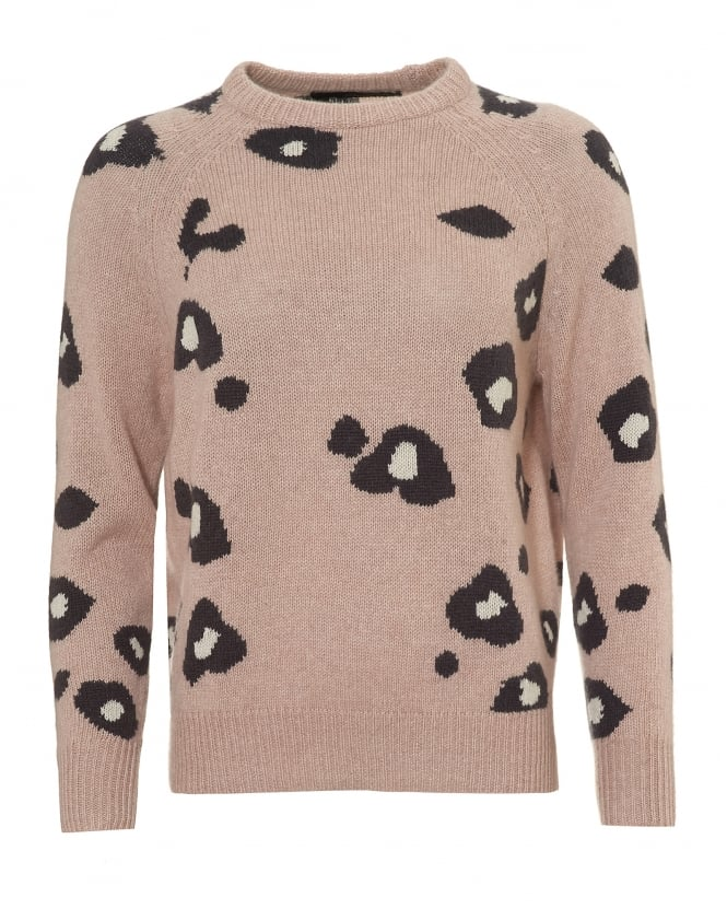 360 Cashmere Womens Courtney Jumper, Animal Print Rose Quartz Pink Sweater