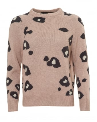 Womens Courtney Jumper, Animal Print Rose Quartz Sweater