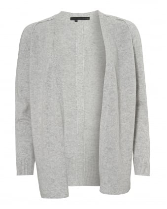 Womens Elisa Cardigan, Long Line Mist Light Grey Knit