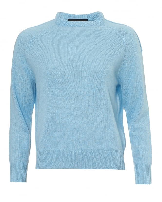 360 Cashmere Womens Moni Jumper, Crew Neck Bluebell Soft Blue Sweater