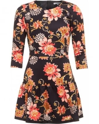 70's Floral Print Tiered Skater Dress
