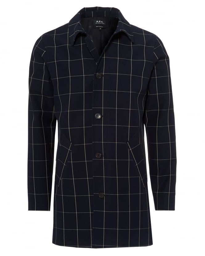A.P.C. Mens Astaire Window Pane Mid Length Dark Navy Blue Coat