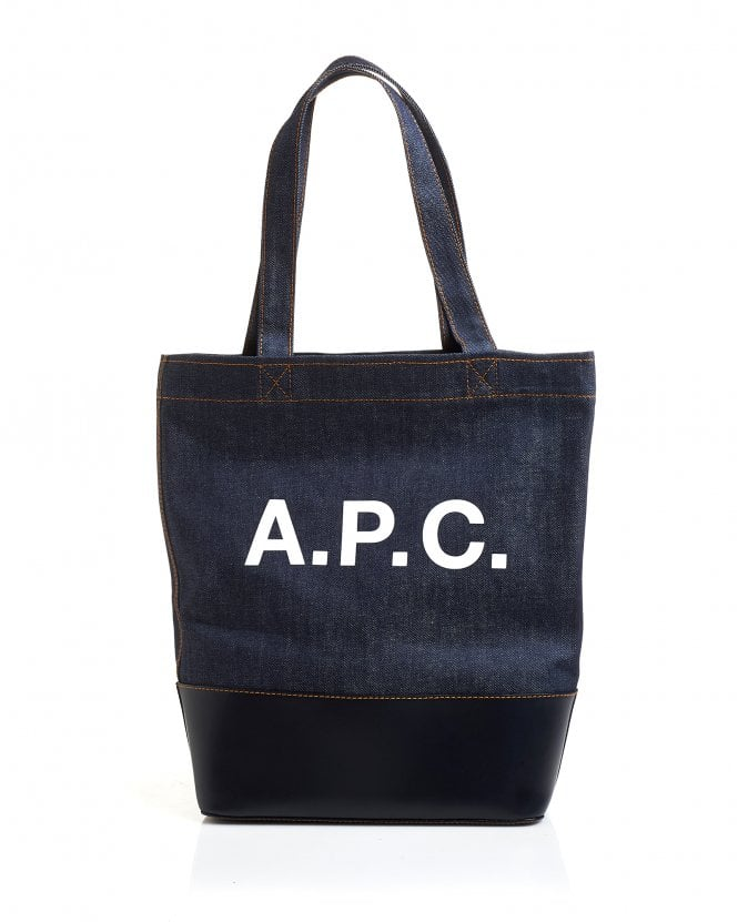 A.P.C. Mens Cabas Axel Denim Leather Tote Bag, Dark Navy Bag