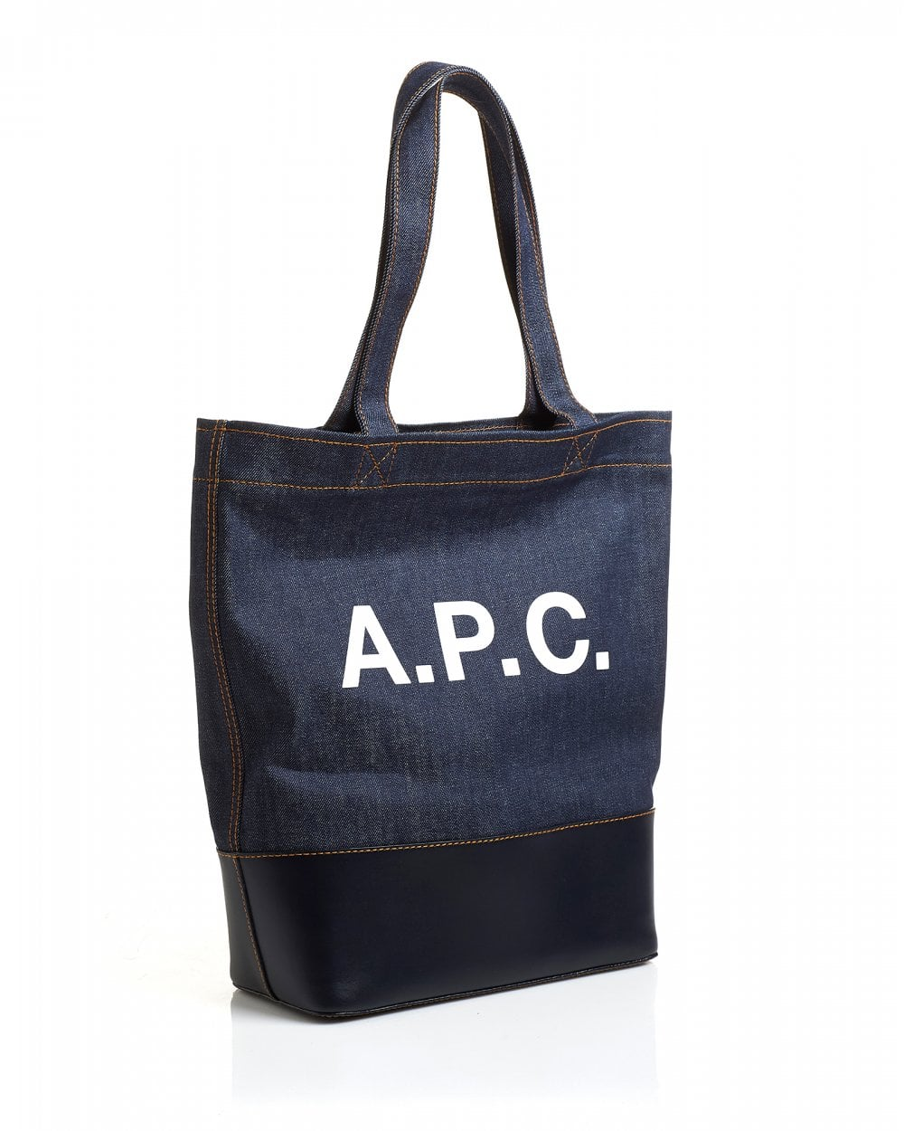 44cc113fb09b A.P.C. Mens Cabas Axel Denim Leather Tote Bag