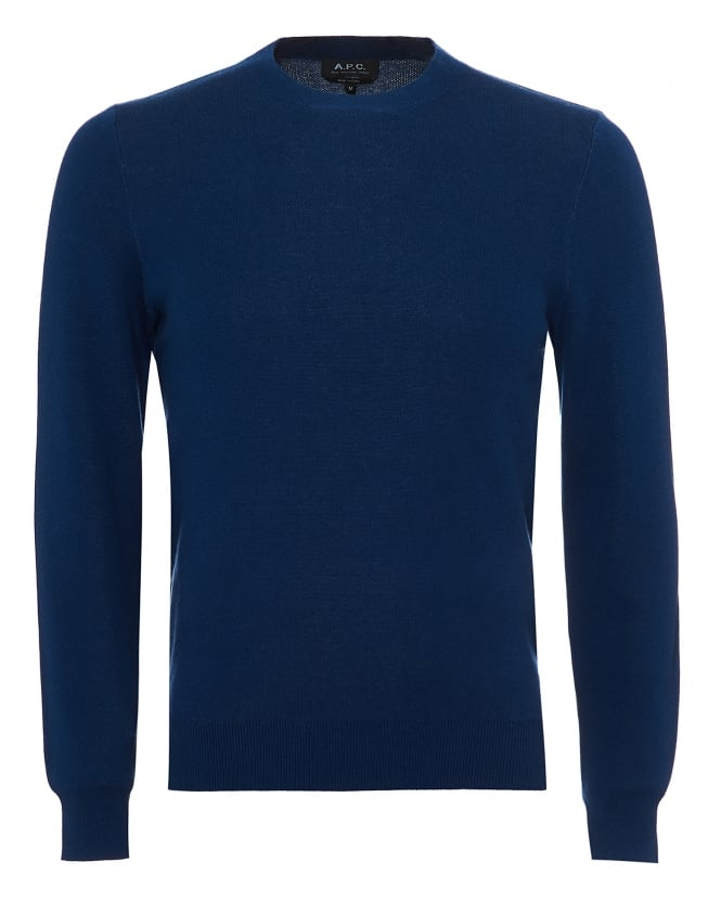 A.P.C. Mens Cia Jumper, Back APC Lettering Blue Sweater