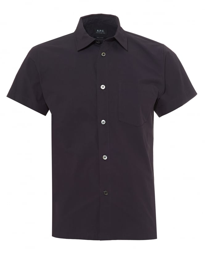 A.P.C. Mens Cippi Short Sleeved Cotton Dark Navy Blue Shirt