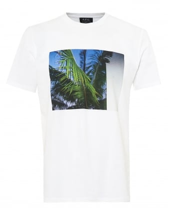 Mens Cocki T-shirt, Boxed Palm Print Graphic White Tee