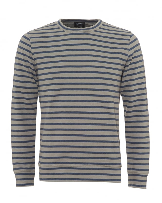 A.P.C. Mens Horizontal Stripe Sweatshirt, Crew Neck Blue Grey Sweat