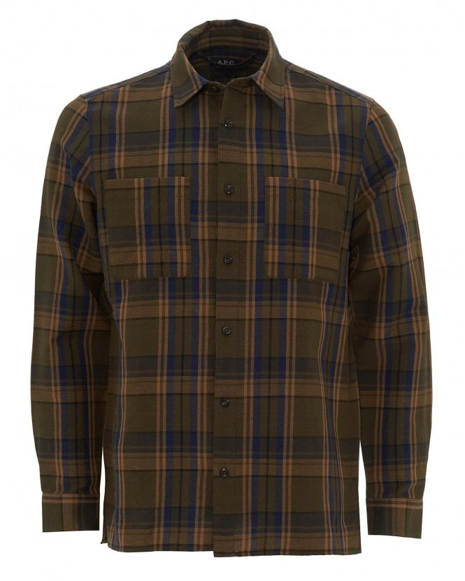 A.P.C. Mens Khaki Achille Overcheck Shirt
