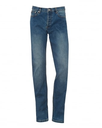 Mens Petit Standard Jeans, Straight Light Wash Blue Denim