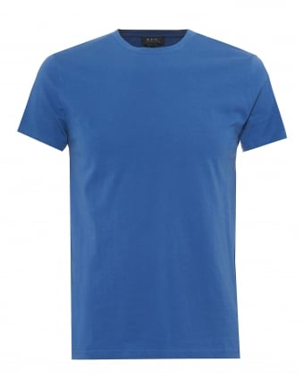 Mens Plain Short Sleeve T-Shirt, Regular Fit Blue Tee