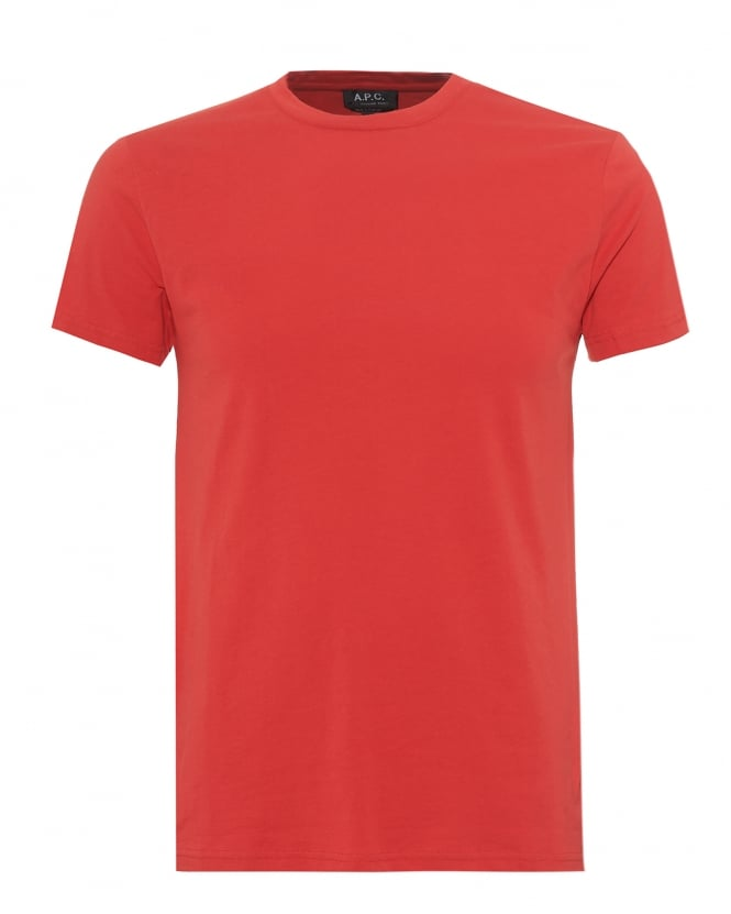 A.P.C. Mens Plain Short Sleeve T-Shirt, Regular Fit Red Tee