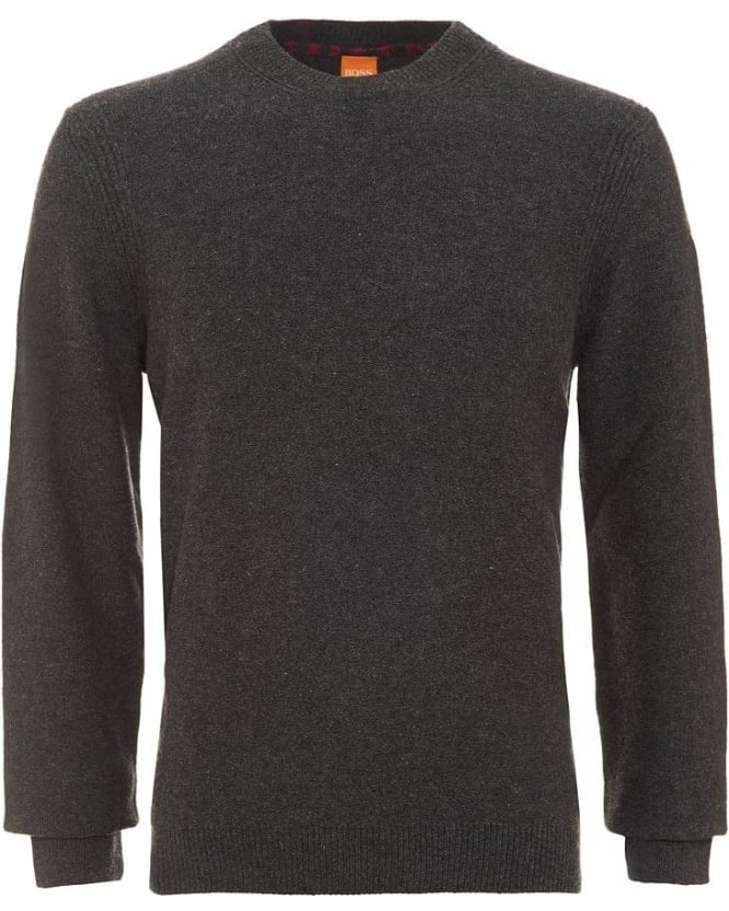 Hugo Boss Orange Acesto Charcoal Jumper New Wool Sweater