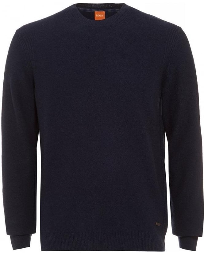 Hugo Boss Orange Acesto Navy Blue Jumper New Wool Sweater