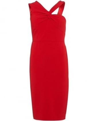 Aisha Red Fitted Pencil Dress