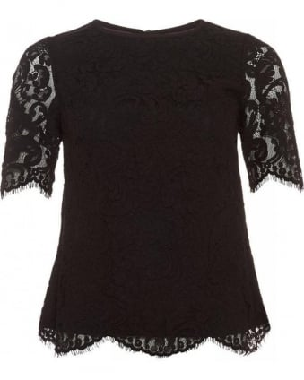 Allina Short Sleeve Black Lace Top