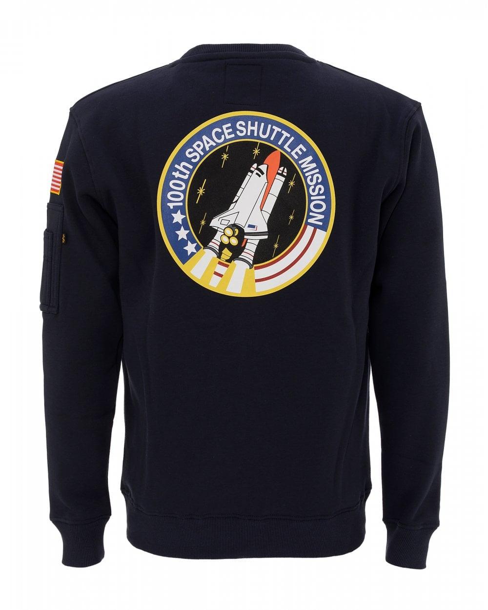 31bf1b2b6 Alpha Industries Mens Blue Sweat, Space Shuttle Sweatshirt