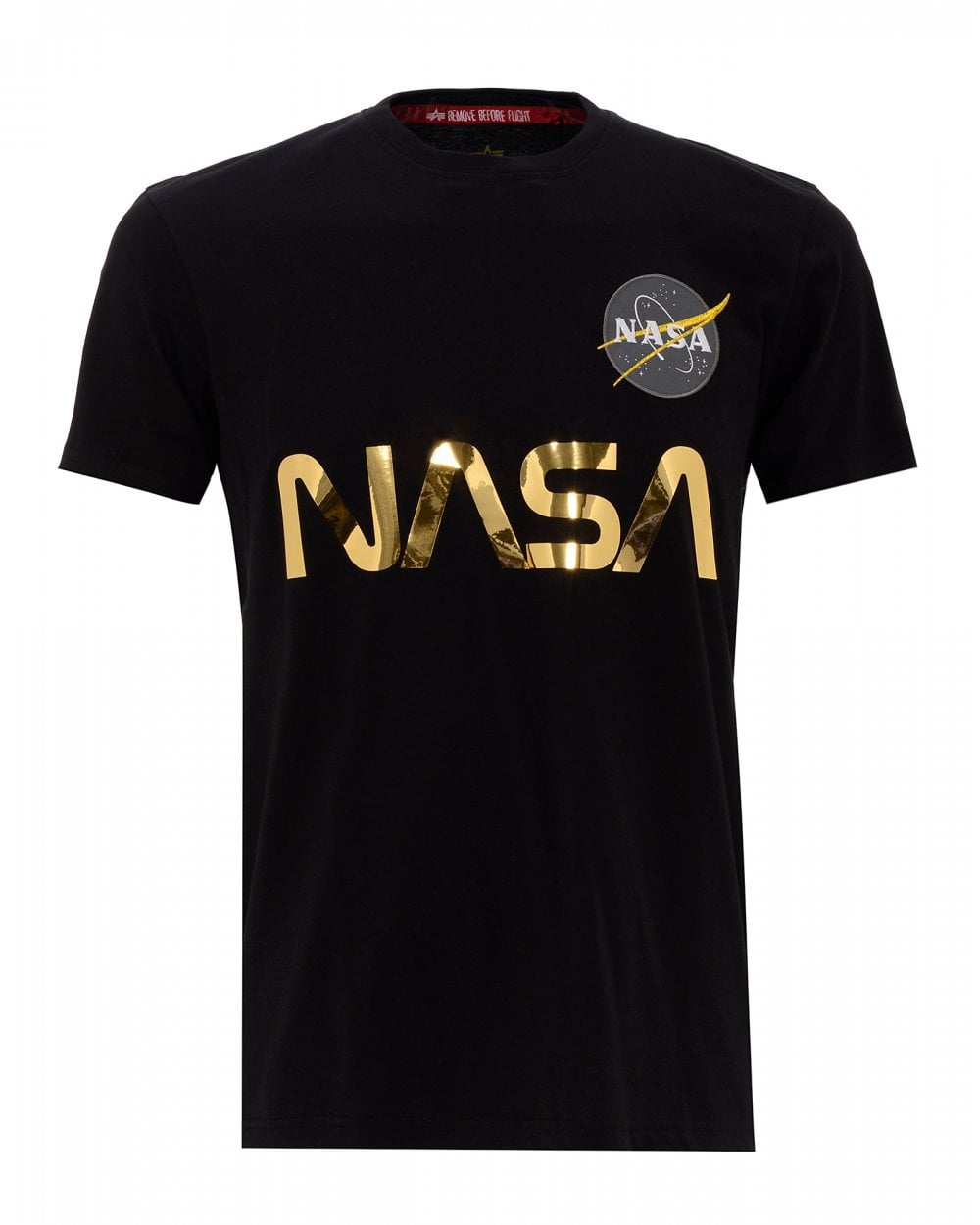 słodkie tanie outlet na sprzedaż super jakość Mens Nasa Reflective T-Shirt, Black & Gold Regular Fit Tee