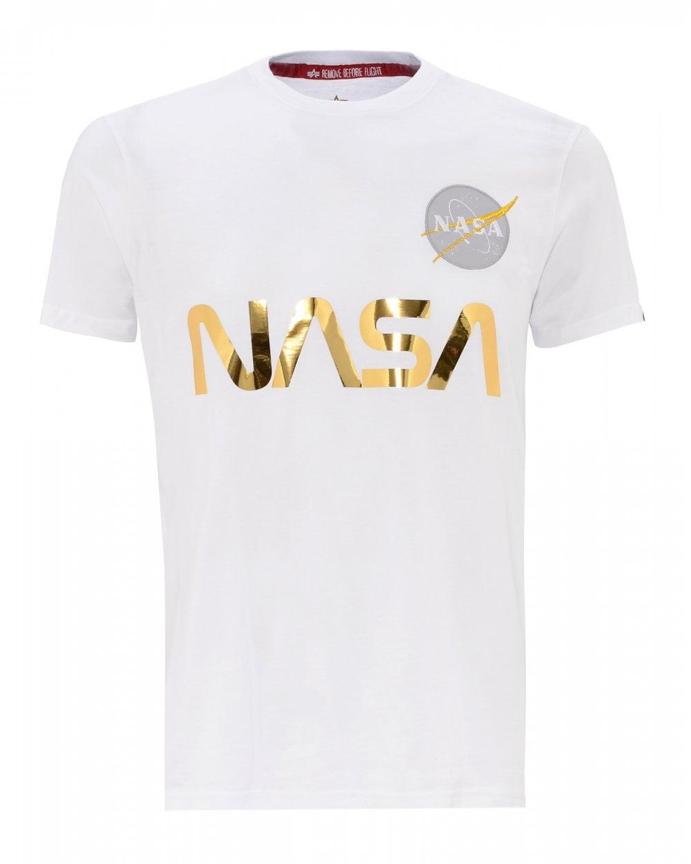 89b50a90 Alpha Industries Mens Nasa Reflective T-Shirt, Regular Fit White Tee