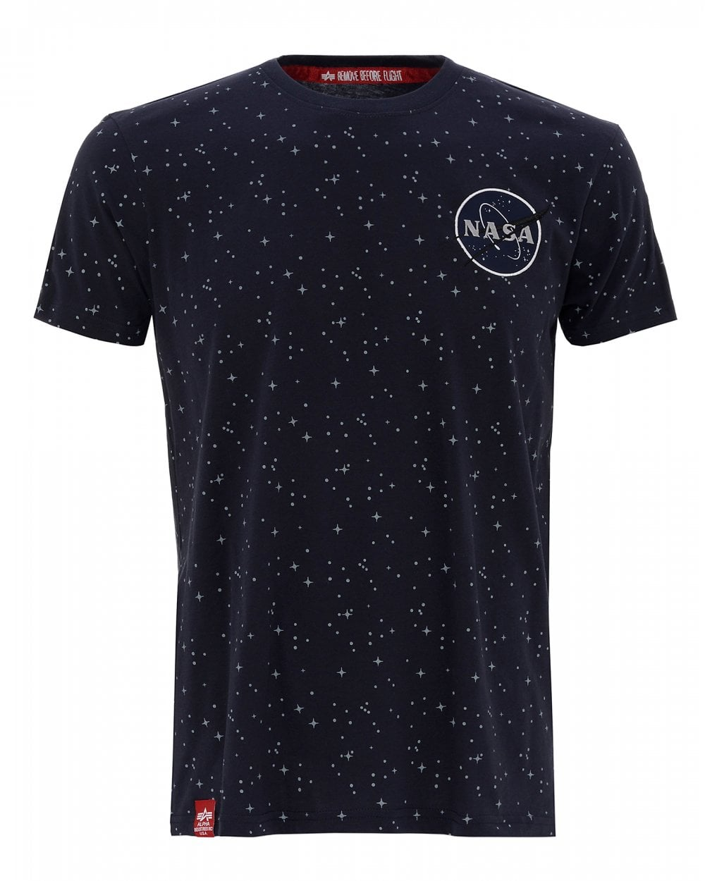 alpha industries mens navy nasa t shirt starry tape tee. Black Bedroom Furniture Sets. Home Design Ideas