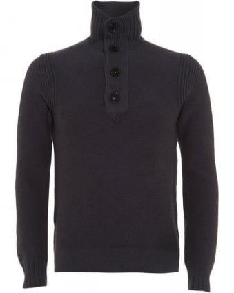 Amaren Charcoal Grey Wool Four Button Sweater