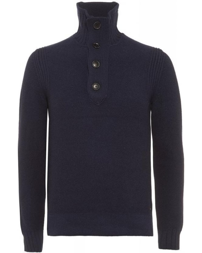 Hugo Boss Orange Amaren Dark Blue Wool Four Button Sweater
