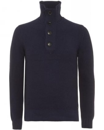 Amaren Dark Blue Wool Four Button Sweater