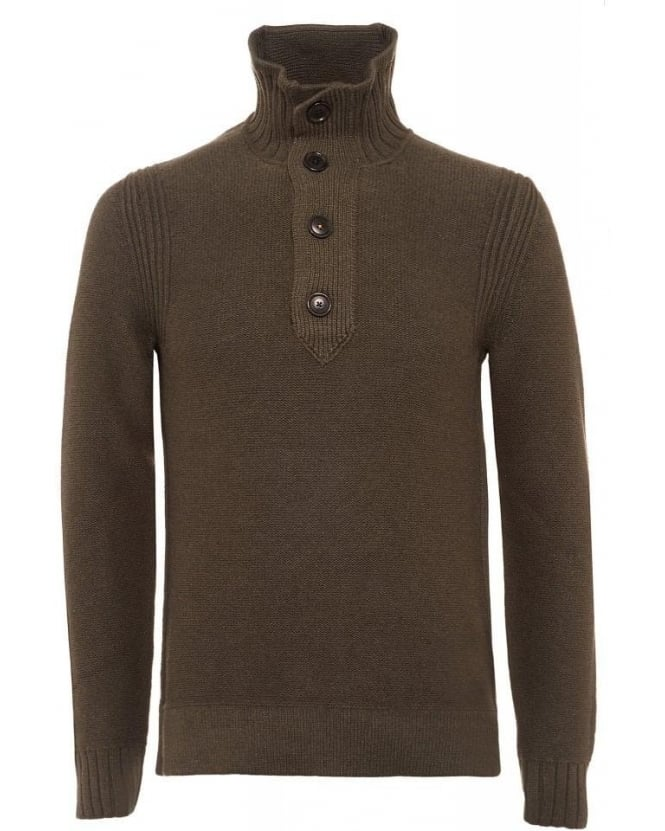 Hugo Boss Orange Amaren Olive Green Wool Four Button Sweater