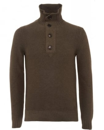 Amaren Olive Green Wool Four Button Sweater