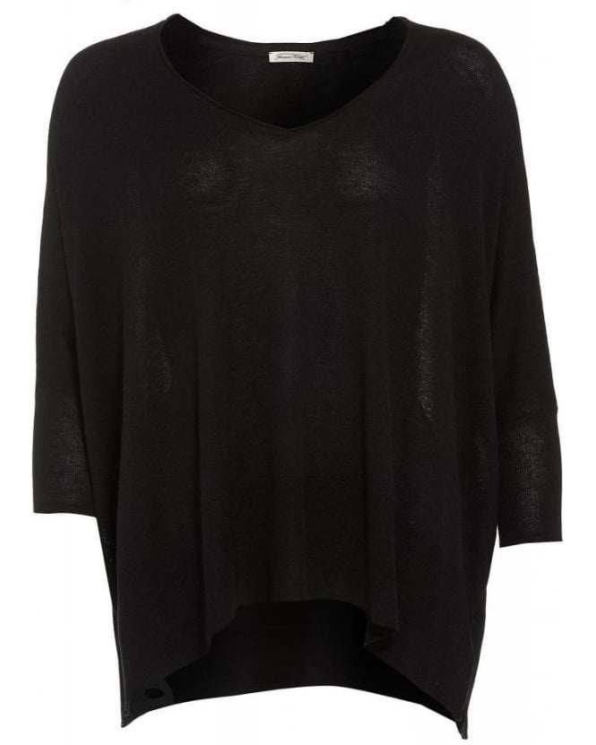 American Vintage Black Monahan One Size V-Neck Wool Poncho