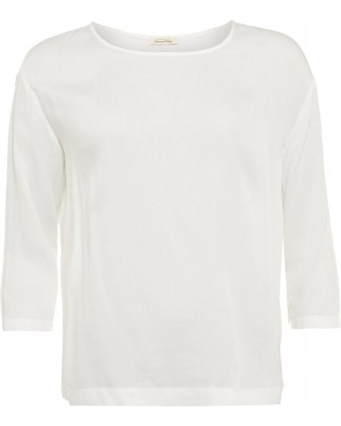 American Vintage Valisville Top, White Cotton Three-Quarter Sleeve T-Shirt