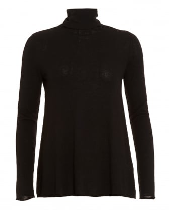 Womens Blossom Roll Neck Black Top