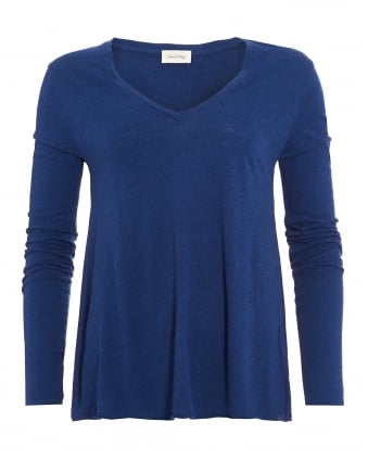 Womens Jacksonville T-Shirt, Blue Caviar Melange Long Sleeve Tee