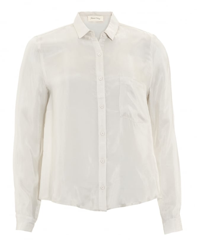 American Vintage Womens Nowichurch Chest Pocket Frost White Shirt