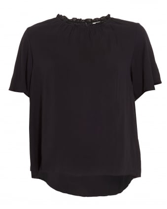 Womens Vali's Ville Top, Black Frill T-Shirt