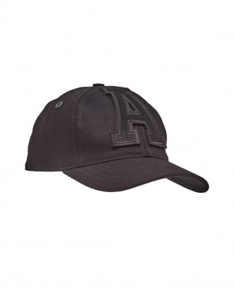 Mens Baseball Cap, Large A Front Logo Black Cap