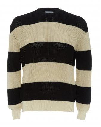 0a5c2be74 Mens Black & Ecru Jumper, Striped Crewneck Sweater