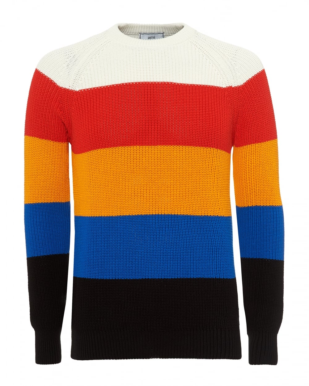 Ami Mens Broad Striped Knit Hooped Neck Multi Coloured Jumper