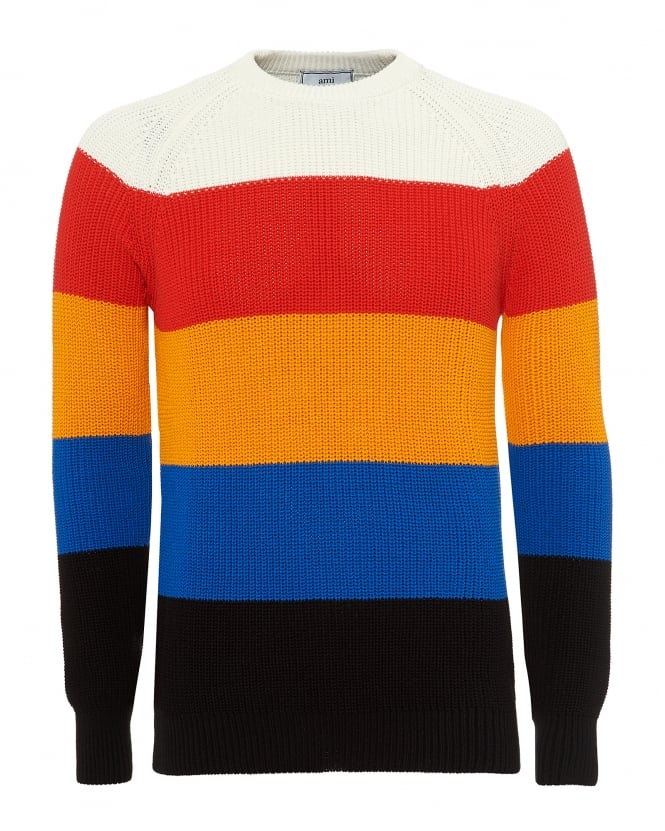 Ami Mens Broad Striped Knit, Hooped Neck Multi Coloured Jumper