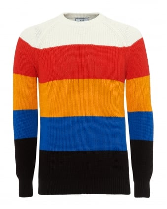 Mens Broad Striped Knit, Hooped Neck Multi Coloured Jumper