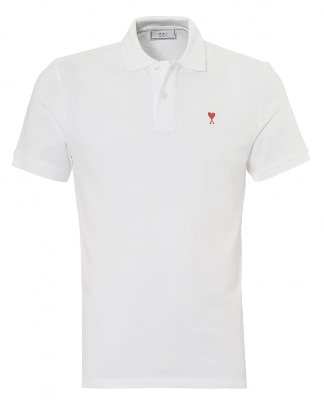 Ami Mens Classic Cut Shirt, Chest Heart Logo White Polo